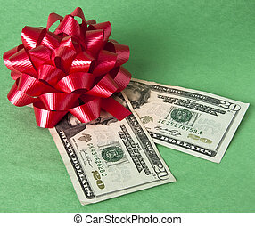 Holiday on a Budget - Bow and currency represents the cost...