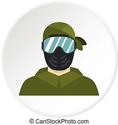 Paintball player icon circle - Paintball player icon in flat...