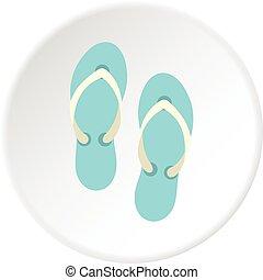 Flip flop sandals icon circle