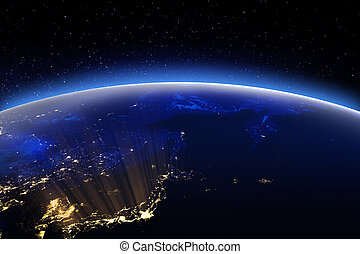 World globe city lights. Elements of this image furnished by...