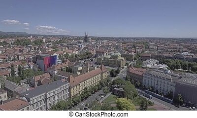 Zagreb city center aerial - Aerial shot of the downtown old...