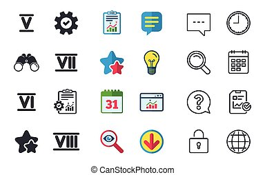 Roman numeral icons. Number five, six, seven. - Roman...