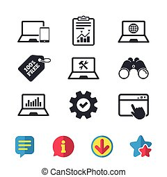 Notebook laptop pc icons. Repair fix service. - Notebook...