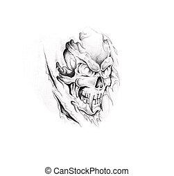 Esboço, tatuagem, arte, monstro, cranio