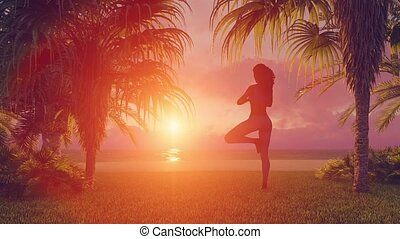 African woman meditating on beach in yoga tree pose - Back...