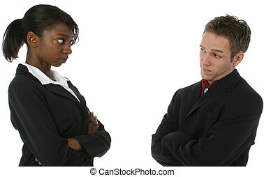 Business Team - Young attractive team looking at each other...