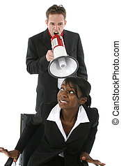 Office Couple - Business man yelling at woman through blow...