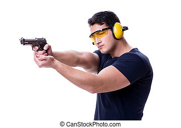 Man doing sport shooting from gun isolated on white