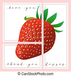 set of cards with words love you and thank you, Strawberry...
