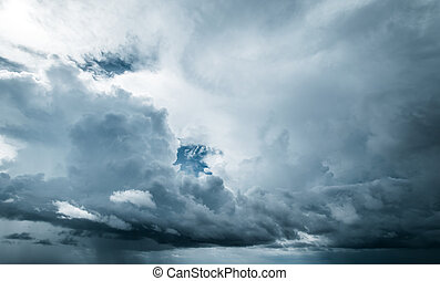Tropical storm clouds and sky. Hurricane weather landscape