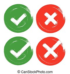 Tick & cross red green brush stroke vote opinion sign set of OK, no, yes check marks