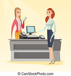 Woman paying wireless with a smartphone. - Young caucasian...