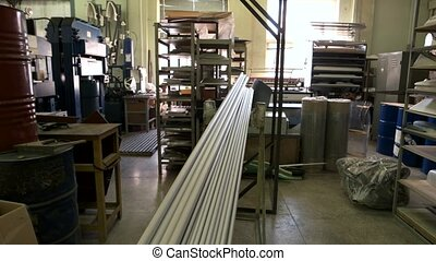 Industrial equipment and parts indoor. Inside industry...
