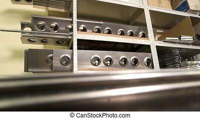 Aluminum details on shelves. New metal parts.