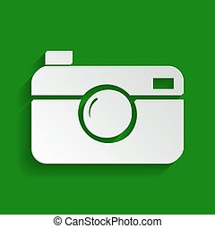 Digital photo camera sign. Vector. Paper whitish icon with...