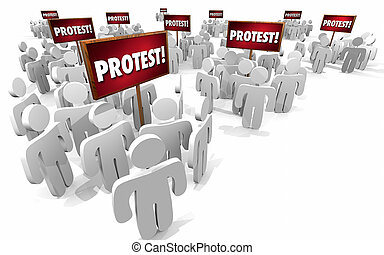Protest People Signs Groups 3d Illustration