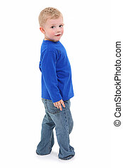 Toddler Boy - Adorable 2 year old boy in casual standing...