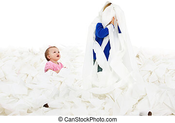 Children in Toliet Paper - Adorable siblings playing in...