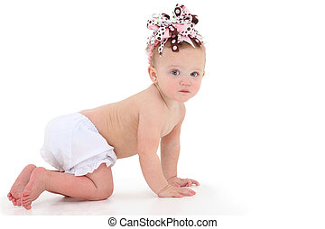 Crawling Baby - Adorable 10 month old baby girl crawling...
