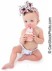 Cupcake Baby - Adorable 10 month old baby girl eating pink...