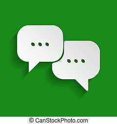 Speech bubbles sign. Vector. Paper whitish icon with soft...