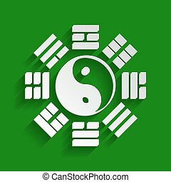 Yin and yang sign with bagua arrangement. Vector. Paper...