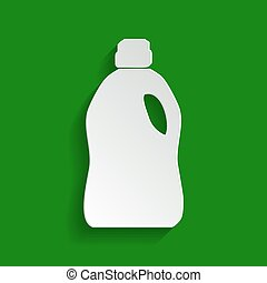 Plastic bottle for cleaning. Vector. Paper whitish icon with...