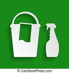 Bucket and a rag with Household chemical bottles. Vector. Paper whitish icon with soft shadow on green background.