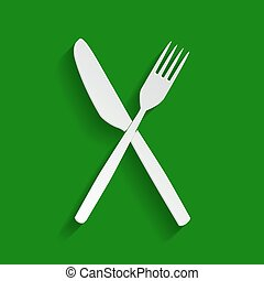 Fork and Knife sign. Vector. Paper whitish icon with soft shadow on green background.