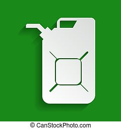 Jerrycan oil sign. Jerry can oil sign. Vector. Paper whitish...