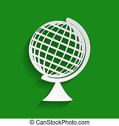 Earth Globe sign. Vector. Paper whitish icon with soft...