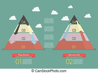 Top down and Bottom up pyramid business strategy infographic