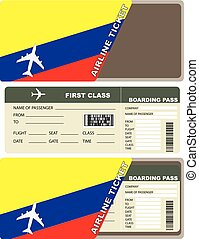 Plane ticket first class in Colombia. Vector illustration.