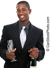 Business Man Celebration - Attractive young man in stylish...