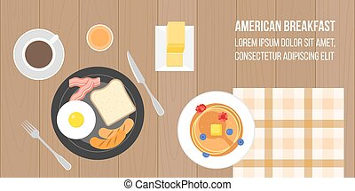 american breakfast, coffee, orange juice, pancake, bread, sausage, bacon, egg and bread in aerial view on wooden board background, flat design vector suitable for banner or cover of website