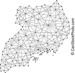 Map of Uganda from polygonal black lines and dots of vector...