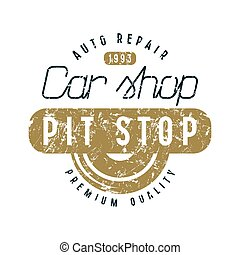Car shop and pit stop emblem