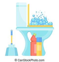clean fresh toilet icon - White home clean hygienic toilet...