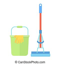 clean bucket mop glove - Clean tools and equipment. Cleaning...