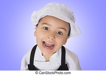 four years girl chef - Portrait of a beautiful four years...