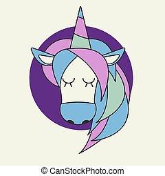 Icon cute head of unicorn