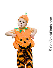 Boy pulling a funny face wearing a halloween costume