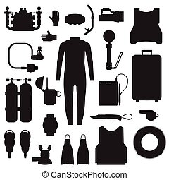Scuba Diving and Snorkeling Gear Icons - Scuba elements and...