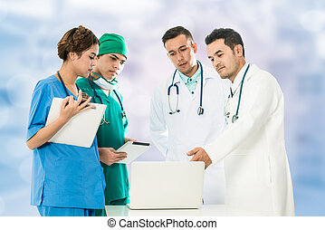 Medical People Meeting with Laptop Computer
