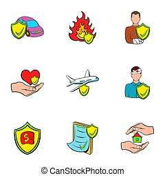 Accident icons set, cartoon style - Accident icons set....