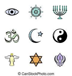 God icons set, cartoon style - God icons set. Cartoon...