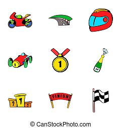 Championship icons set, cartoon style