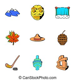 Canadian culture icons set, cartoon style - Canadian culture...