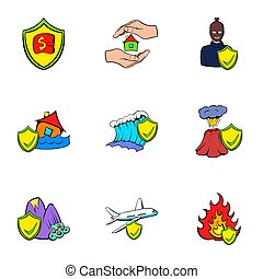 Compensation icons set, cartoon style - Compensation icons...