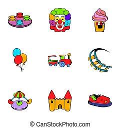 City park icons set, cartoon style - City park icons set....